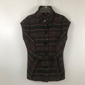 CAbi Brown Plaid Wool Blend Button Up Vest S